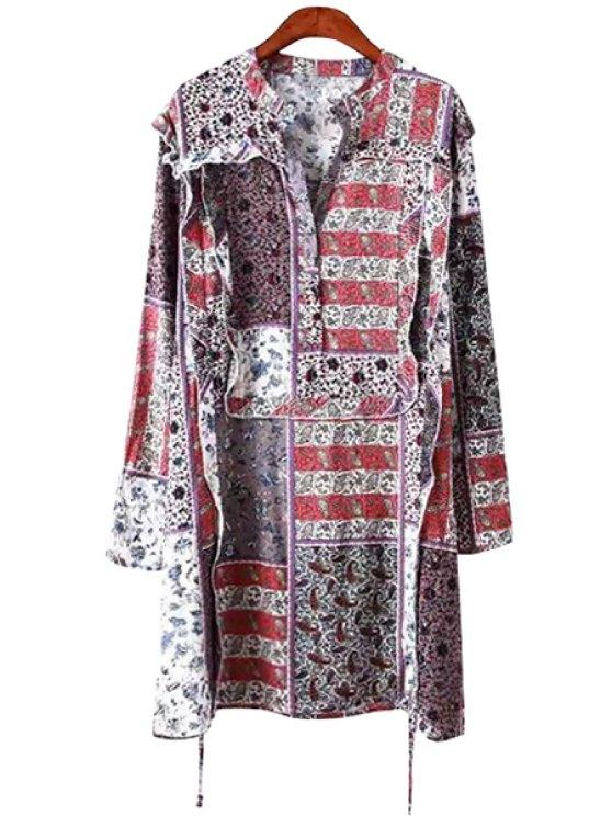 hot Print Flounce Splicing Long Sleeve Dress - COLORMIX S