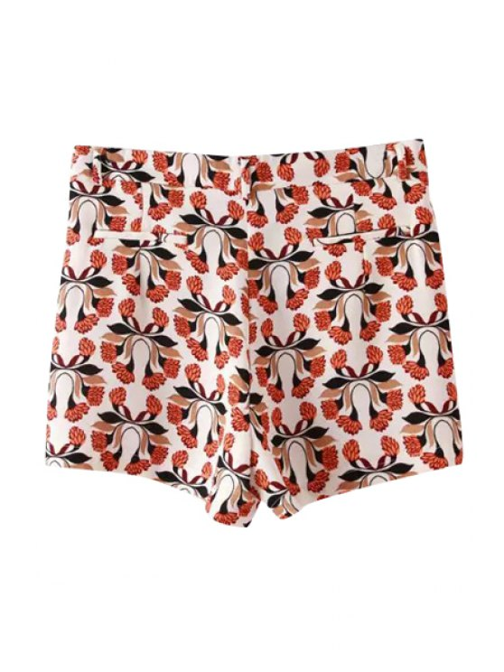 outfit Red Floral Print Zipper Fly Shorts - RED S