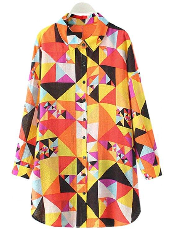 shops Long Sleeve Argyle Pattern Shirt - YELLOW L
