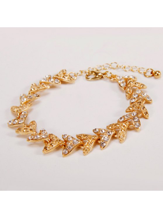 trendy Chic Rhinestone Plant Shape Design Bracelet For Women - GOLDEN