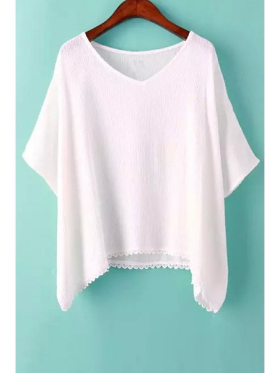 trendy Lace Splicing Solid Color Batwing Sleeve T-Shirt - WHITE S