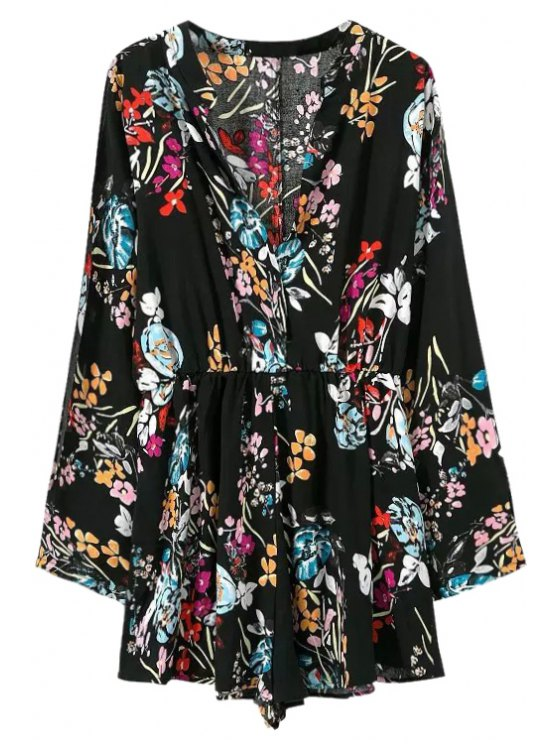 women Floral Long Sleeves V-Neck Romper - BLACK S