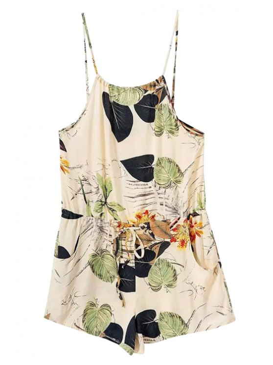 online Spaghetti Strap Leaves Print Tie-Up Romper - COLORMIX S