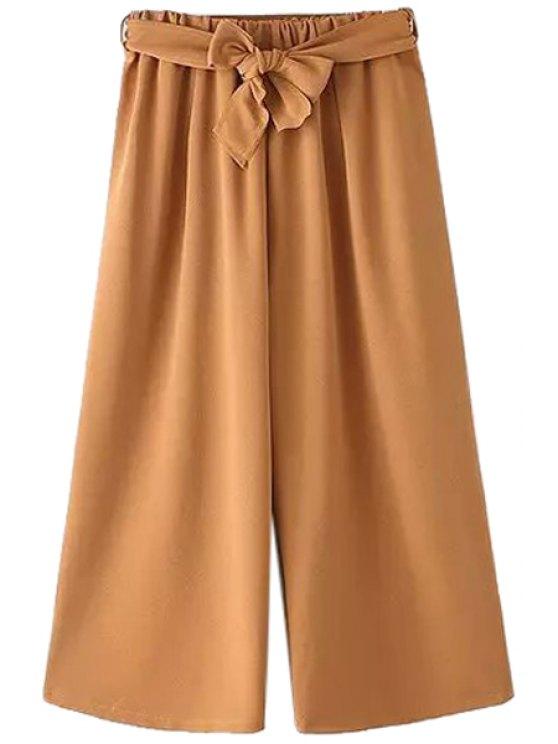 shop Solid Color Wide Leg Self-Tie Pants - KHAKI ONE SIZE(FIT SIZE XS TO M)