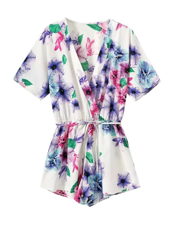 trendy V-Neck Colorful Floral Print Tie-Up Romper - WHITE S