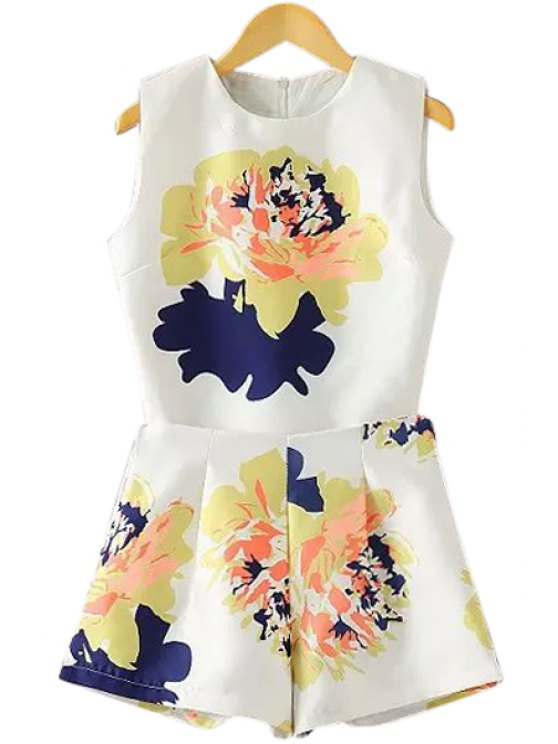 outfits Floral Tank Top and High Waisted Shorts Suit - WHITE L