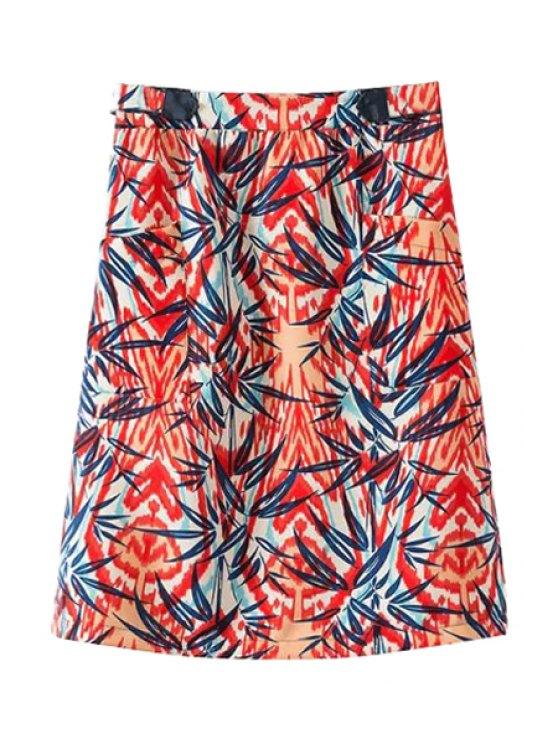 shops Bamboo Leaves Print Skirt - JACINTH S