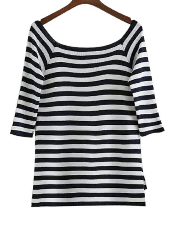 womens Striped 3/4 Sleeve Knitwear - STRIPE ONE SIZE(FIT SIZE XS TO M)