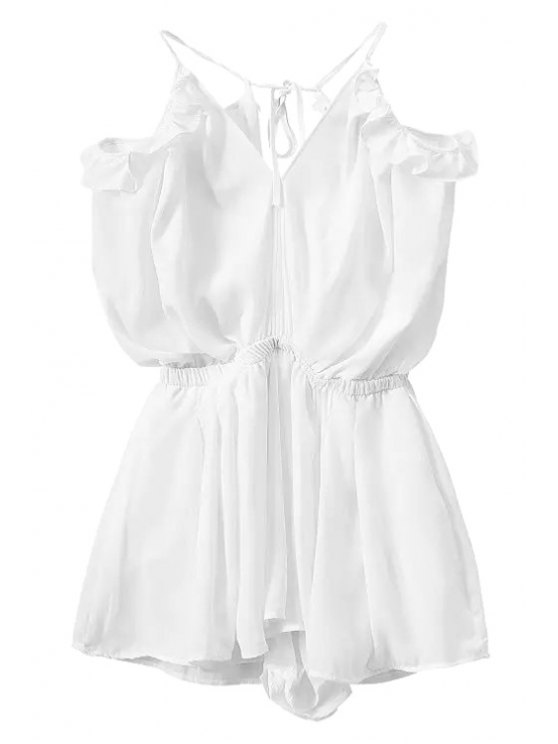 outfit Solid Color Backless Flounce Splicing Romper - WHITE S