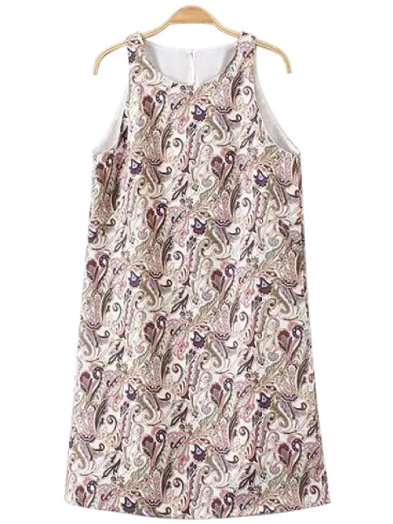 women's Paisley Print Jewel Neck Sundress - COLORMIX S