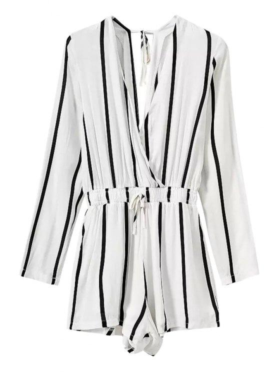 womens Stripe Elastic Waist Long Sleeve Romper - WHITE S