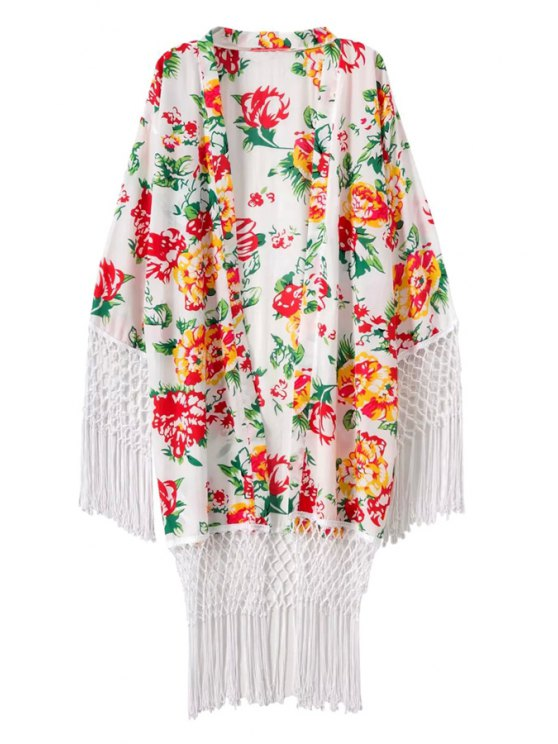 ladies Floral Print Tassel Long Sleeve Coat - WHITE ONE SIZE(FIT SIZE XS TO M)