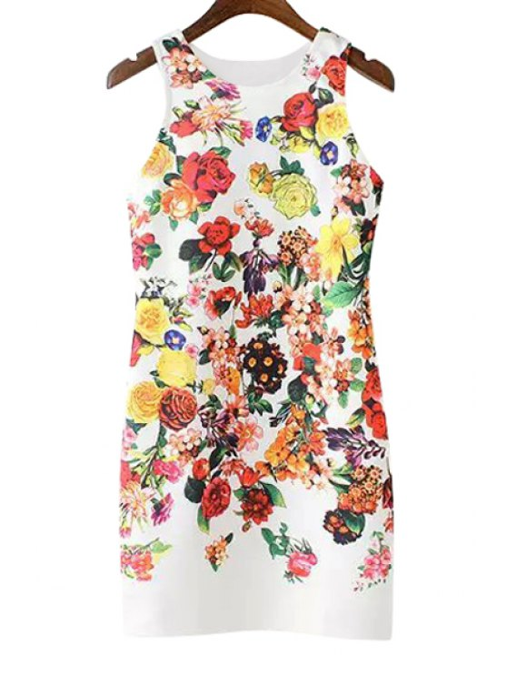women's Colorful Floral Print Dress - WHITE S