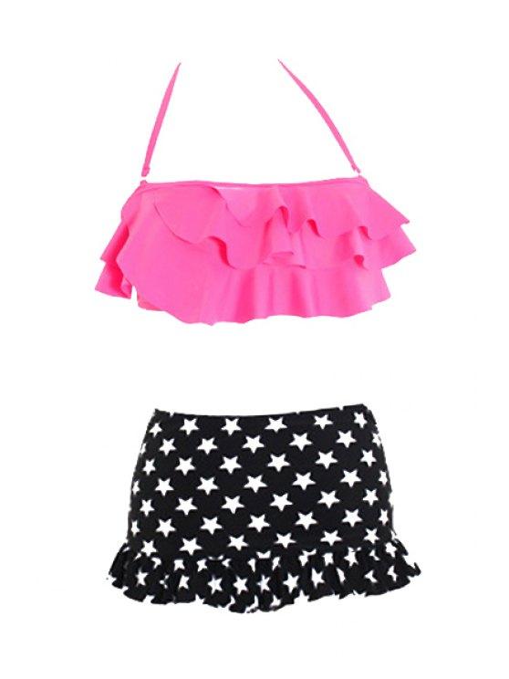 fashion Star Print Ruffles Halter Bikini Set - PINK M