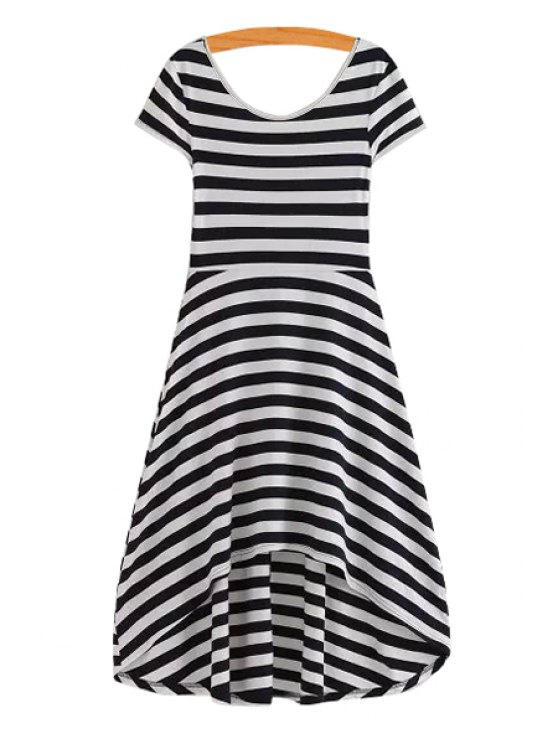 women Stripe Asymmetrical Short Sleeve Dress - WHITE AND BLACK S