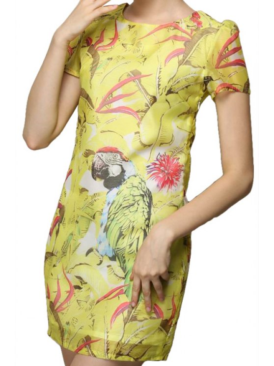 hot Parrot Floral Print Short Sleeve Dress - YELLOW S