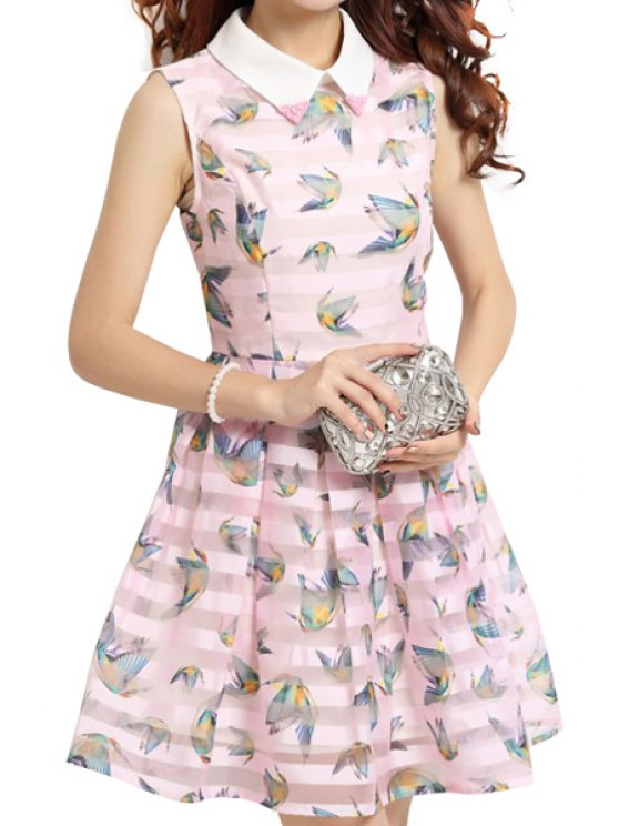 affordable Peter Pan Collar Birds Print Voile Splicing Dress - PINK S