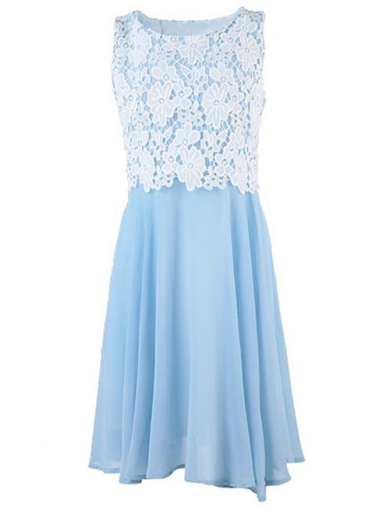 sale Jewel Neck Lace Splicing Sleeveless Dress - AZURE S