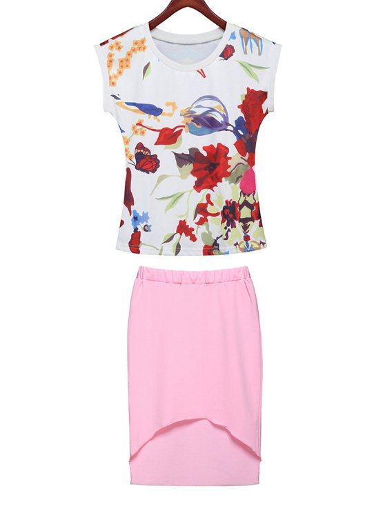 lady Floral Print T-Shirt + Solid Color Asymmetrical Skirt - PINK S