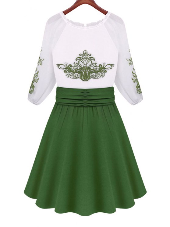 shop Green Print Color Block 3/4 Sleeve Dress - WHITE AND GREEN S