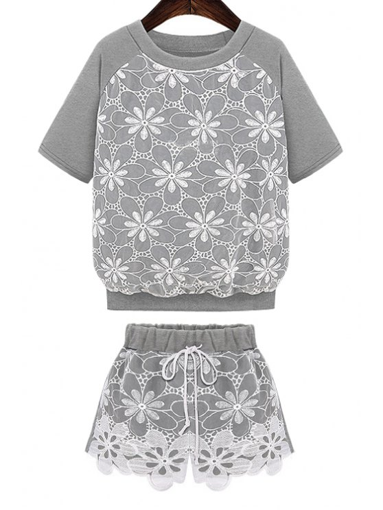 fancy Lace Splicing T-Shirt + Elastic Waist Shorts - GRAY S