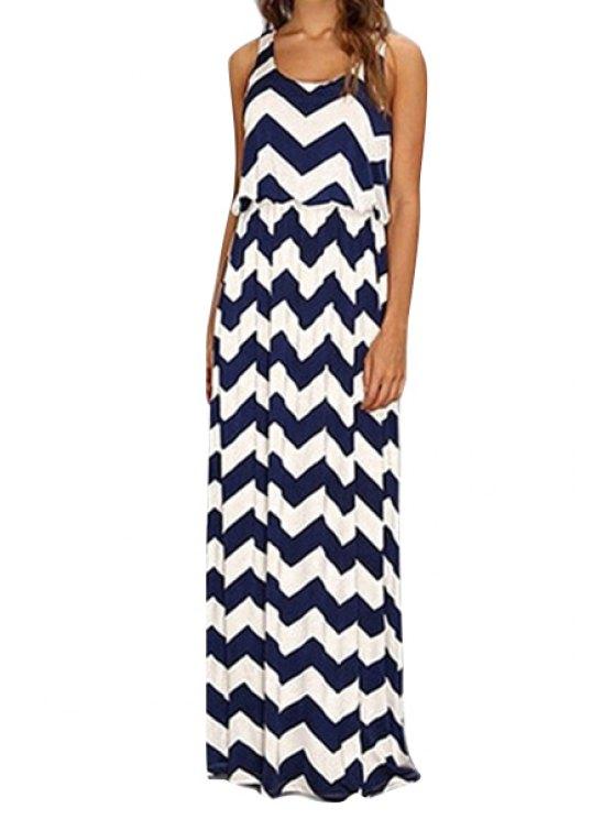 ladies Stripe Elastic Waist Sleeveless Maxi Dress - WHITE S