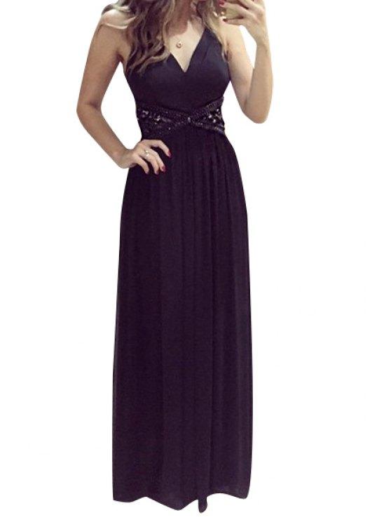 shops V-Neck Solid Color Openwork Maxi Dress - BLACK S