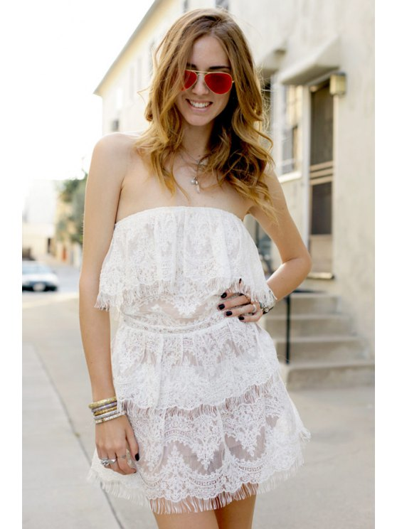 best Strapless Solid Color Fringe Lace Dress - WHITE S