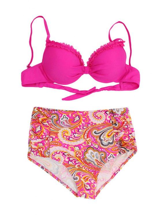 womens Paisley Spaghetti Straps Bikini Set - PLUM S