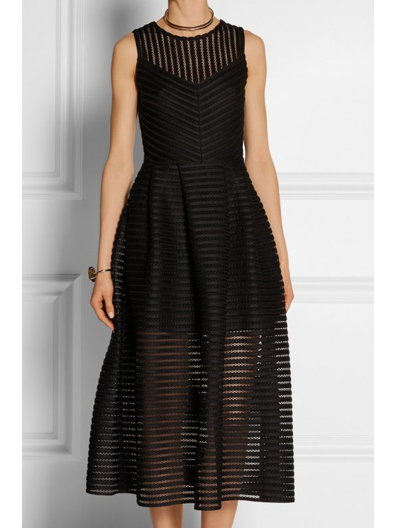 new Striped Solid Color Hollow Sundress - BLACK S