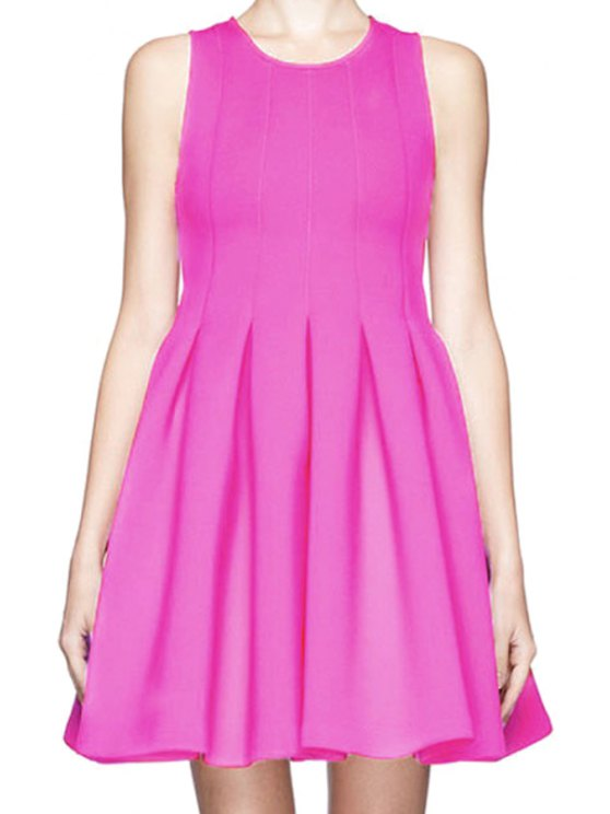 latest Solid Color A-Line Flouncing Sundress - PLUM S