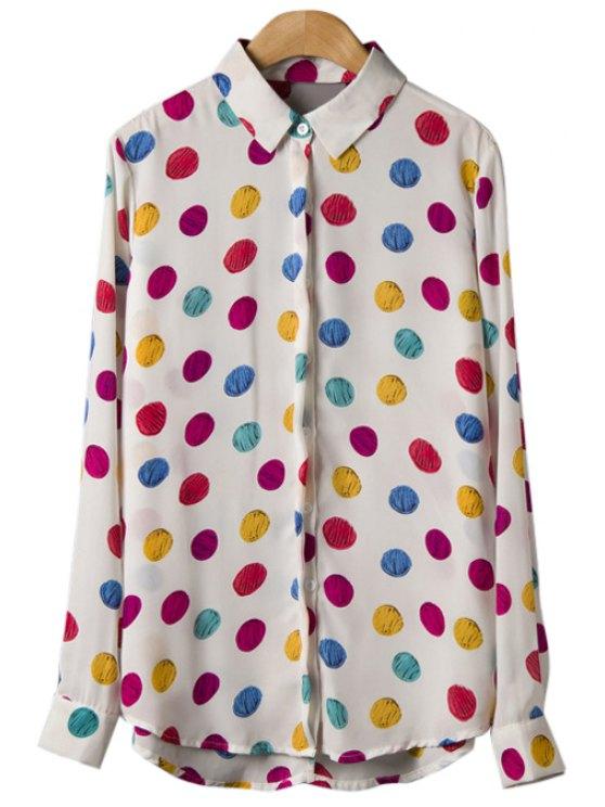 affordable Colorful Polka Dot Long Sleeve Shirt - WHITE S