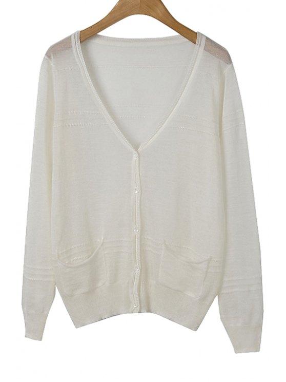 affordable V-Neck Solid Color Two Pockets Cardigan - WHITE