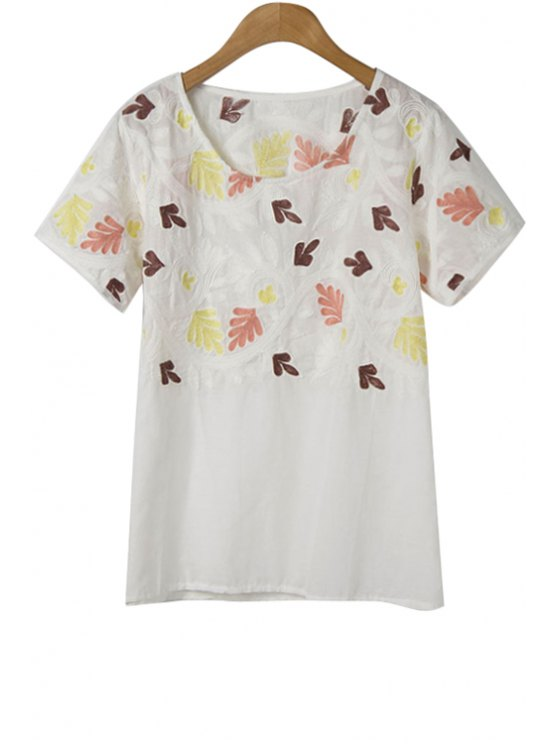 fashion Leaves Embroidery Short Sleeve T-Shirt - WHITE ONE SIZE(FIT SIZE XS TO M)