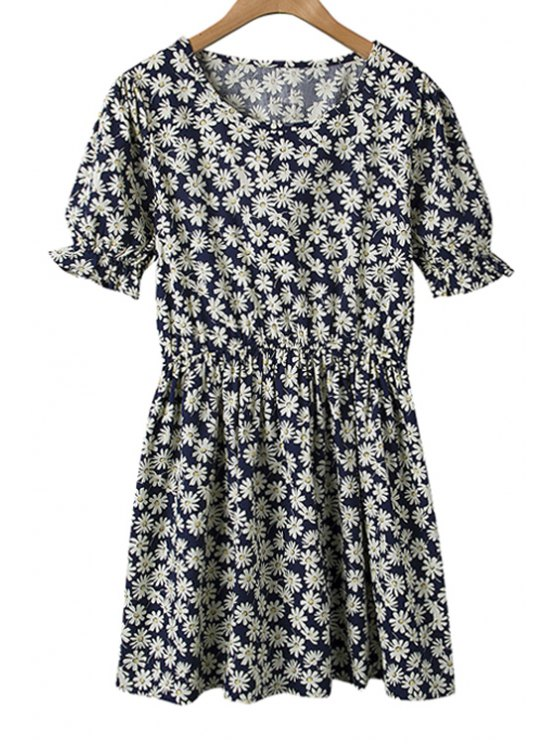 outfits Daisy Print Ruffle Short Sleeve Dress - PURPLISH BLUE ONE SIZE(FIT SIZE XS TO M)