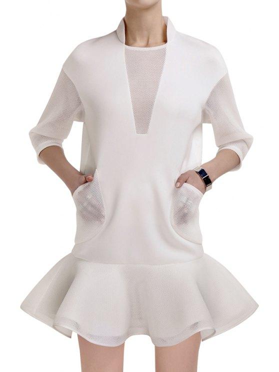 buy Mesh Spliced Ruffled 3/4 Sleeve Dress - WHITE S