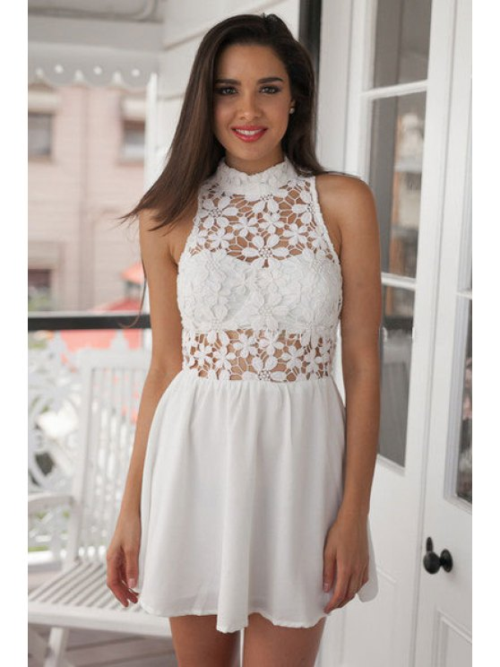 outfits Floral Pattern Lace Openwork Sleeveless Dress - WHITE S