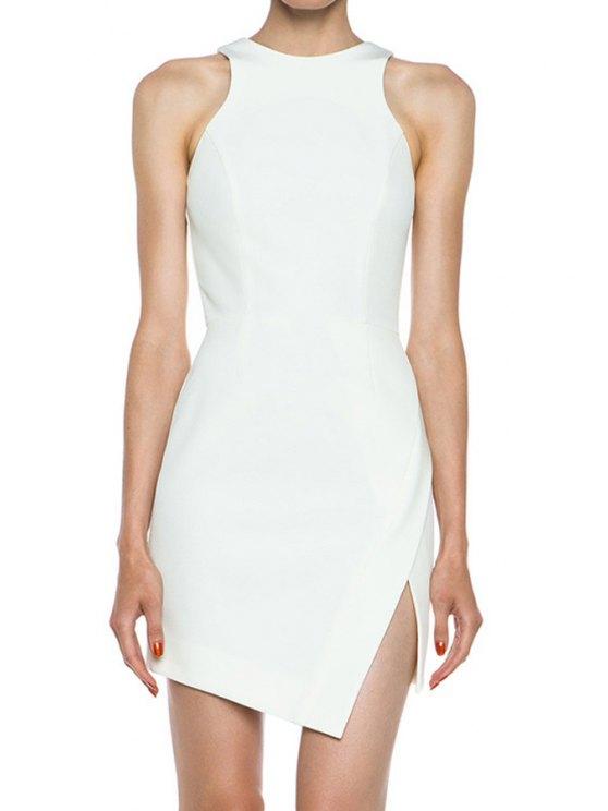 latest White Sleeveless Side Slit Dress - WHITE S