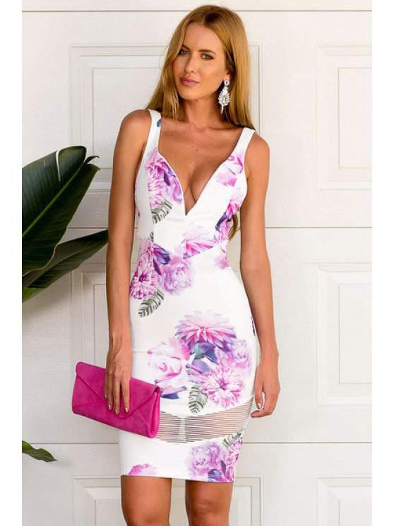 online Floral Print Voile Splicing Backless Dress - WHITE S