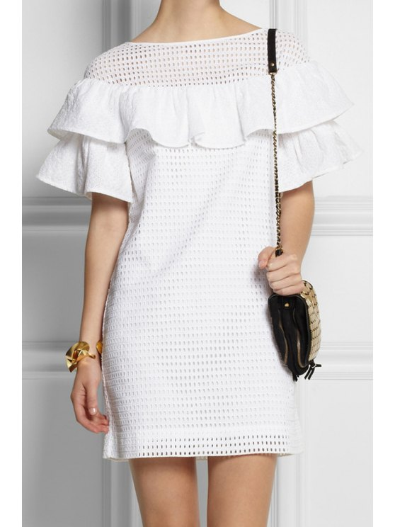 fashion White Ruffles Spliced Hollow Dress - WHITE S