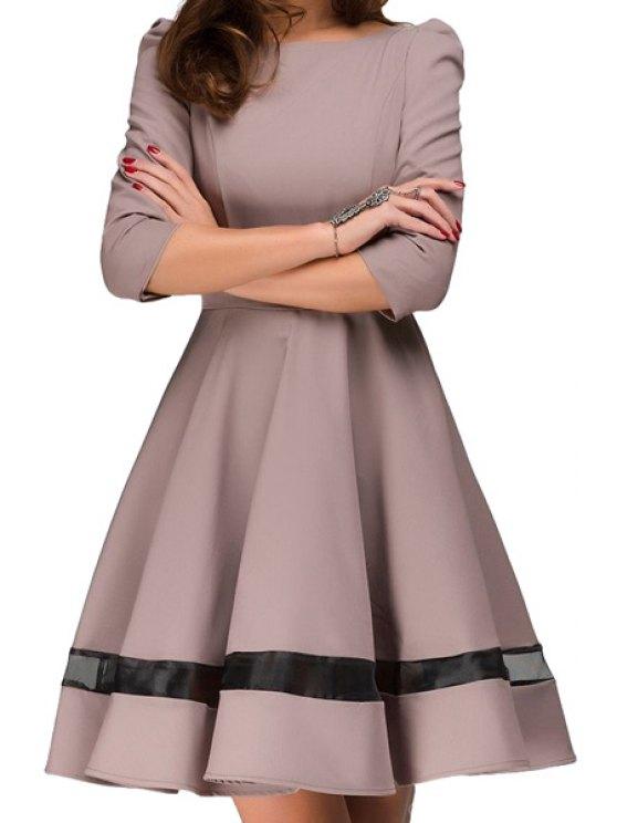 sale Voile Splicing A-Line 3/4 Sleeve Dress - KHAKI M