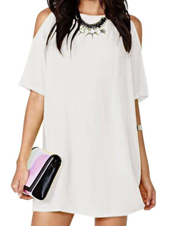 lady Solid Color Off-The-Shoulder Half Sleeve Dress - WHITE S