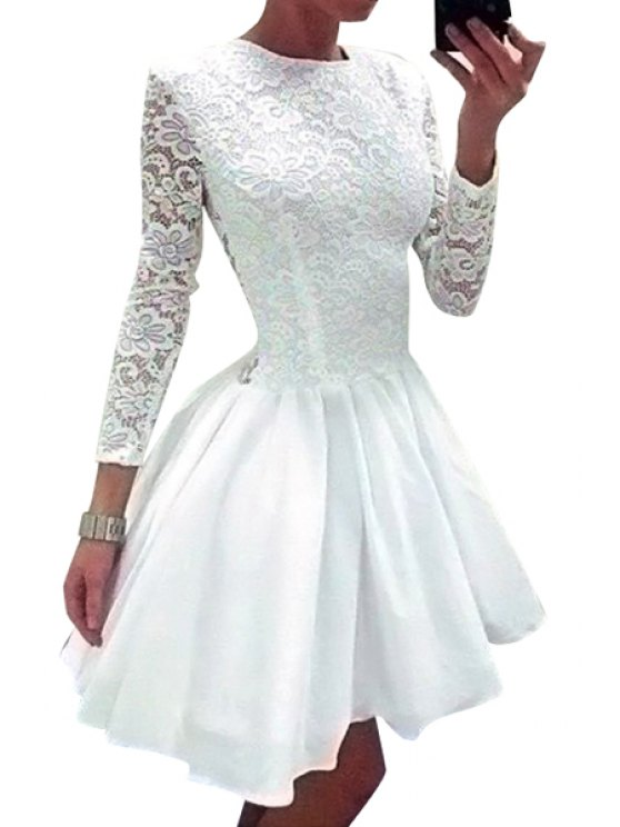 sale Lace Splicing Solid Color Long Sleeve Dress - WHITE M