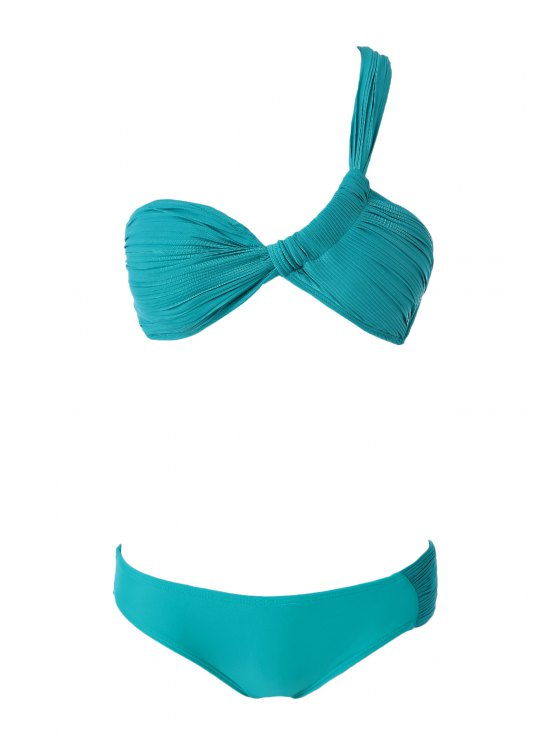 shops One-Shoulder Ruffle Bikini Set - TURQUOISE S