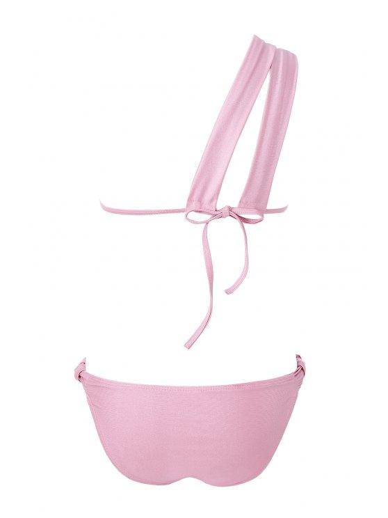 Solid Color One-Shoulder Bikini Set - PINK S Mobile