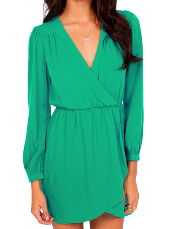 ladies V-Neck Solid Color Cross Ruffle Dress - GREEN S