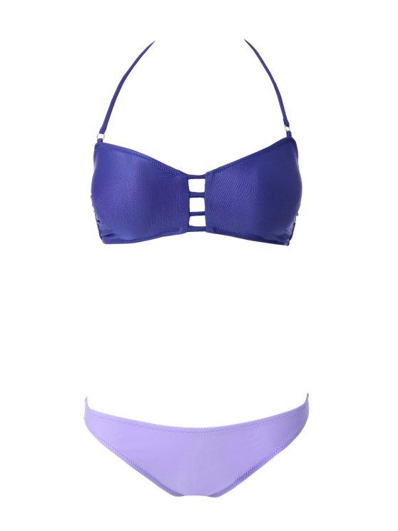 Calados vendaje Bikini Set - Púrpura M