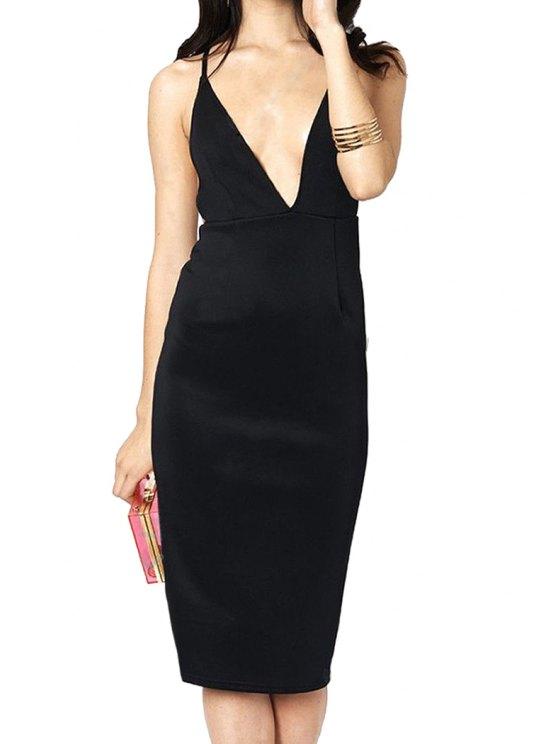 online Plunging Neck Backless Cross Sleeveless Dress - BLACK M