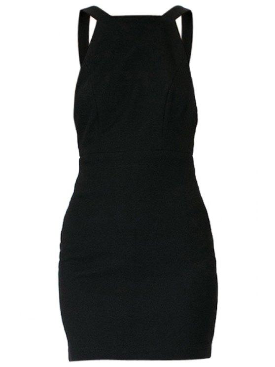 latest Black Backless Sleeveless Bodycon Dress - BLACK XS