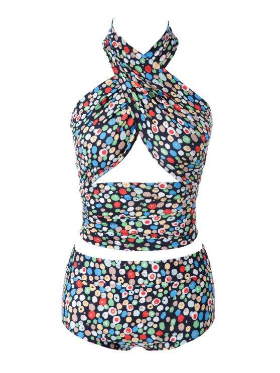 women Colorful Print High Waisted Bikini Set - 03# M